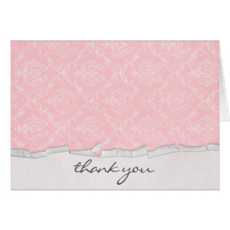 pink damask design and torn paper edge card