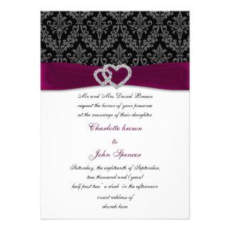 pink damask diamante wedding invitation