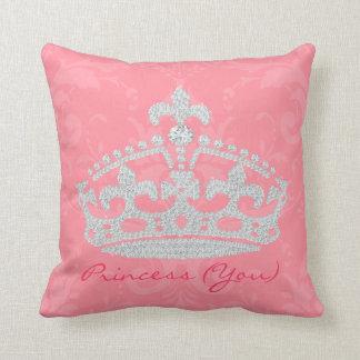 Pink Damask Diamond Princess Crown Pillow
