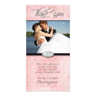 Pink damask diamond wedding thank you photocard card