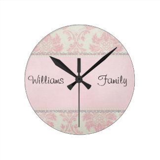 Pink Damask Diamonds Round Clock