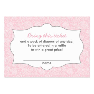 Pink Damask Diaper Raffle Tickets CUSTOMIZABLE Large Business Card