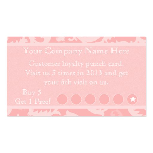 pink damask discount promotional punch card business card templates zazzle. Black Bedroom Furniture Sets. Home Design Ideas