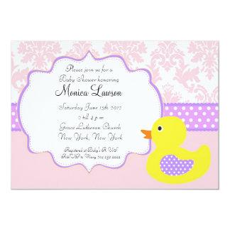 Pink Damask Ducky Modern Baby Shower Invitation
