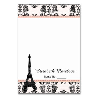 Pink Damask Eiffel Tower Tent Place Cards