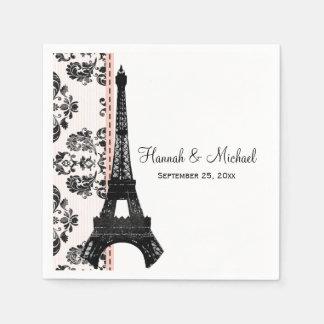 Pink Damask Eiffel Tower Wedding Paper Napkin