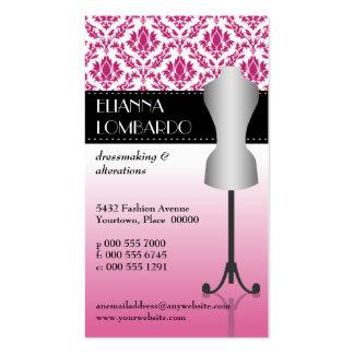 Pink Damask Fashion Dress Form Business Card Templates