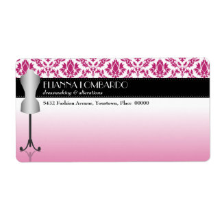 Pink Damask Fashion Dress Form Label