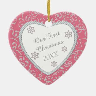 Pink Damask Faux Diamond First Christmas Ornament