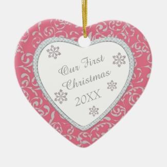 Pink Damask Faux Diamond First Christmas