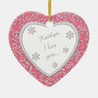 Pink Damask Faux Diamond Wedding Proposal Christmas Tree Ornament