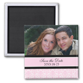 Pink Damask Floral Photo Save the Date Magnet