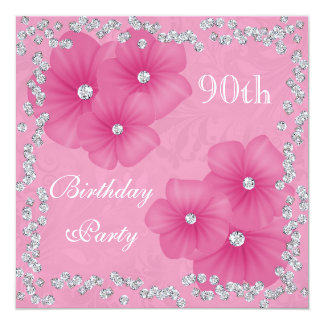 Pink Damask & Flowers 90th Birthday Card