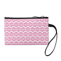 Pink Damask Flowers Pattern Coin Purse