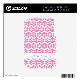 Pink Damask Flowers Pattern iPod Touch 4G Skin