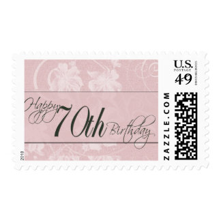 Pink damask for 70th birthday postage