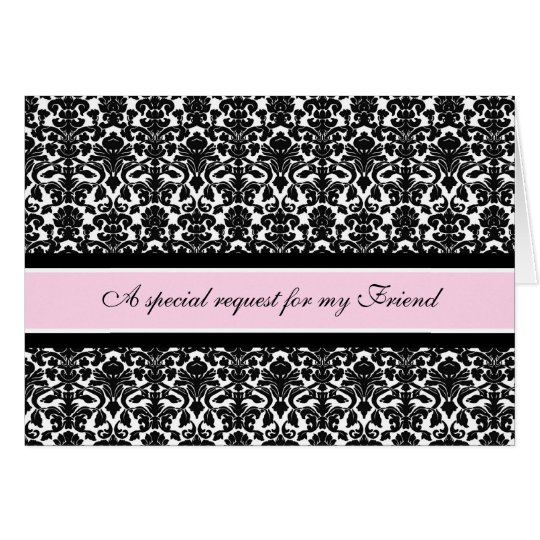 Pink Damask Friend Matron of Honor Invitation