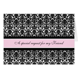 Pink Damask Friend Matron of Honor Invitation Cards
