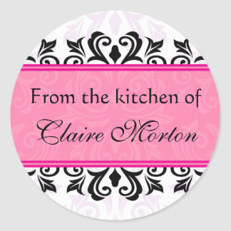 Pink damask from the kitchen of [Name] stickers