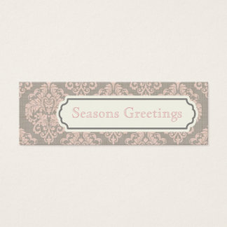 Pink Damask Gift Tags, Profile Cards