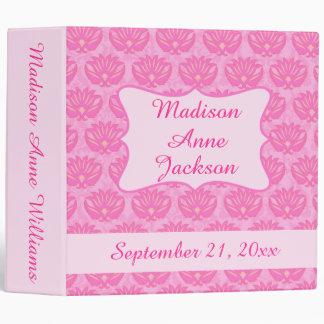 Pink Damask Girl Personalize Baby Book Photo Album 3 Ring Binder