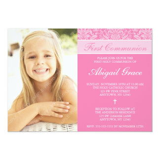 Pink Damask Girl Photo First Communion 5x7 Paper Invitation Card
