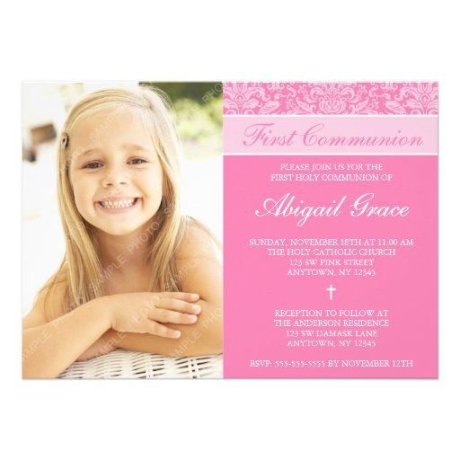 Pink Damask Girl Photo First Communion Invites
