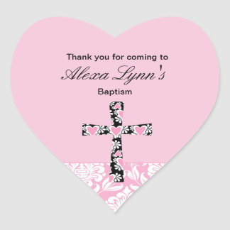Pink Damask Girls BaptismThank You sticker