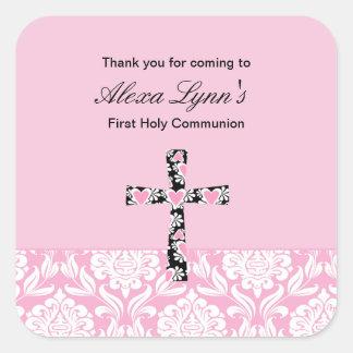 Pink Damask Girls Communion sticker