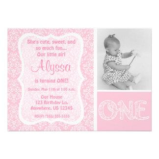 Pink Damask Girls First Birthday Invitation