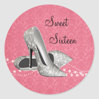 Pink Damask Glitter High Heel Shoes Stickers
