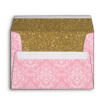 Pink Damask & Gold Glitter Royal Princess Envelope