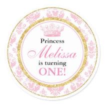 Pink Damask Gold Princess 1st Birthday Stickers