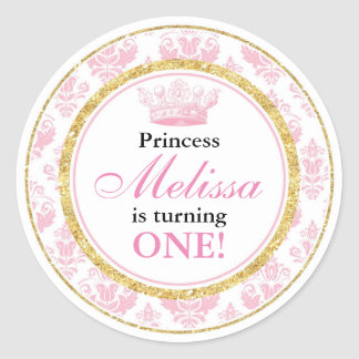 Pink Damask Gold Princess 1st Birthday Stickers