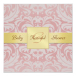 "Pink Damask Gold Ribbon Baby Shower Invitation 5.25"" Square Invitation Card"