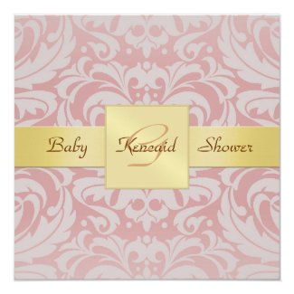 "Pink Damask Gold Ribbon Baby Shower Invitation 5.25"" Square Invitation Card"