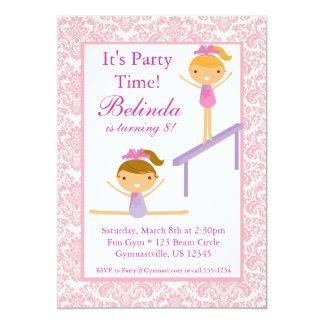 Pink Damask Gymnast Birthday Party Invitation