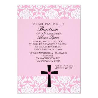 Pink Damask Heart BaptismInvitation Card