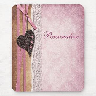 Pink Damask Heart Ribbon Lace Mousepad