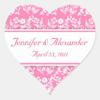 Pink Damask Heart Wedding Invitation Seals Stickers
