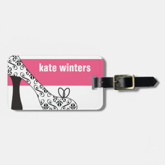 Pink Damask High Heel Stiletto Shoe Luggage Tag