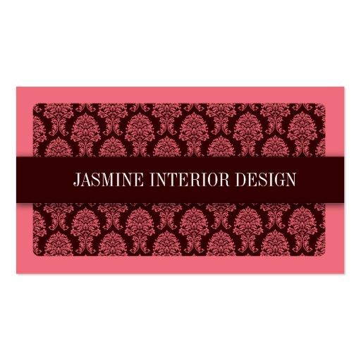 Pink Damask Interior Design Business Card