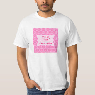 Pink Damask It's A Girl Name Personalized Dad's T-Shirt
