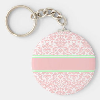Pink Damask Keychain