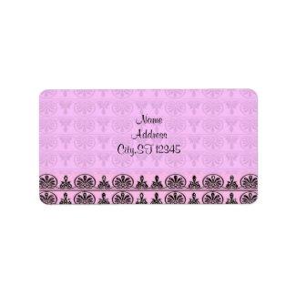 Pink Damask label