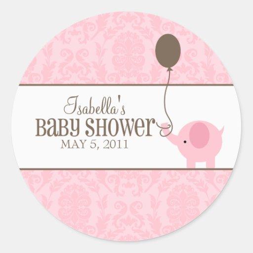 Pink Damask | Labels Round Sticker