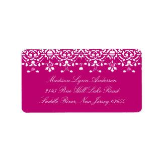 Pink Damask Lace Return Address Label