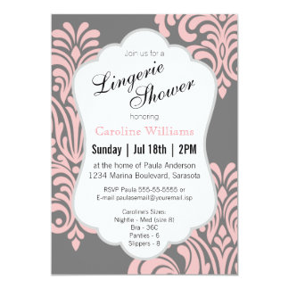 Pink Damask Lingerie Shower Card