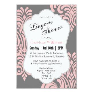 Pink Damask Lingerie Shower Card
