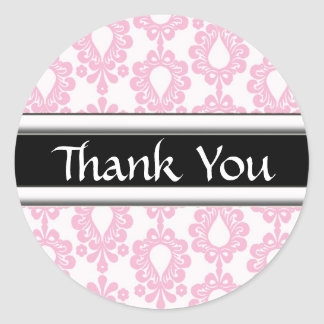 Pink Damask Matching Thank You Stickers